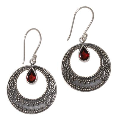 Sterling Silver Garnet Balinese Dangle Earrings Indonesia