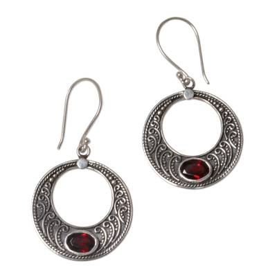 Sterling Silver Garnet Crescent Dangle Earrings Indonesia
