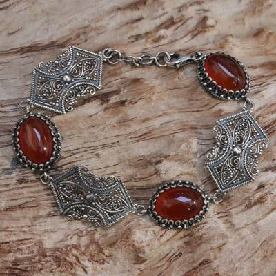 Carnelian link bracelet, 'Blood Moon' - Sterling Silver Carnelian Link Bracelet from Indonesia