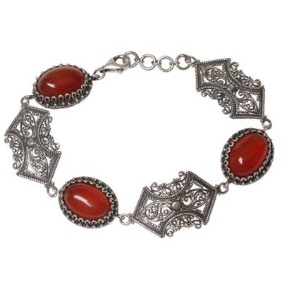 Sterling Silver Carnelian Link Bracelet from Indonesia