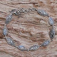 Rainbow moonstone link bracelet, 'Rainbow Putri Nari' - Sterling Silver Rainbow Moonstone Link Bracelet Indonesia