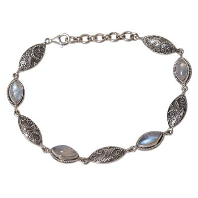 Sterling Silver Rainbow Moonstone Link Bracelet Indonesia