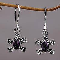 Amethyst dangle earrings, 'Walking Tortoise' - Sterling Silver & Amethyst Petite Turtle Earrings From Bali