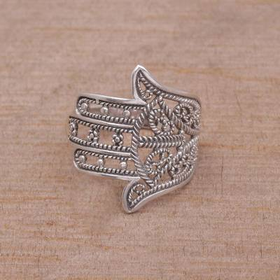 Sterling silver band ring, 'Hamsa Ropes' - Sterling Silver Hamsa Symbol Band Ring from Indonesia