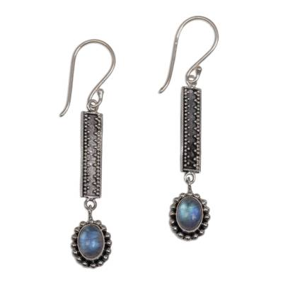 Hand Crafted Rainbow Moonstone Dangle Earrings from Bali