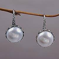 Cultured pearl drop earrings, 'Lunar Bloom' - Cultured Pearl and Sterling Silver Drop Earrings from Bali