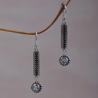 02392eb24 Blue topaz dangle earrings, 'Falling Raindrops' - Sterling Silver and Blue  Topaz Dangle
