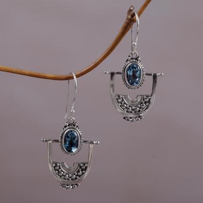 Blue topaz dangle earrings, 'Wondrous Bali' - Hand Made Blue Topaz Dangle Earrings