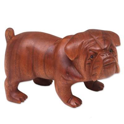 Wood sculpture, 'Fierce Bulldog' - Hand Carved Suar Wood Bulldog Puppy Sculpture from Bali