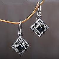 Onyx dangle earrings, 'Square Stupa'