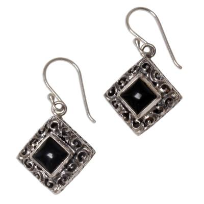 Onyx dangle earrings, 'Square Stupa' - Sterling Silver Onyx Dangle Earrings from Indonesia