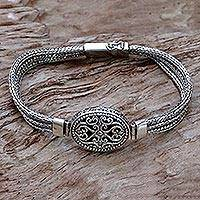 Sterling silver pendant bracelet, 'View of Lombok' - Sterling Silver Pendant Bracelet from Indonesia