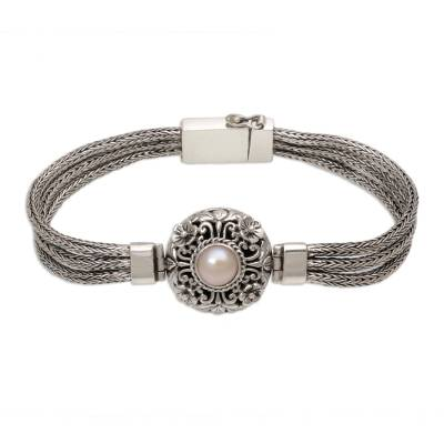 Cultured pearl pendant bracelet, 'Floral Nobility' - 925 Silver and Cultured Pearl Balinese Floral Bracelet