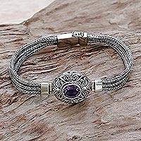 Amethyst pendant bracelet, 'Faith Protector' - Sterling Silver and Amethyst Pendant Bracelet from Indonesia
