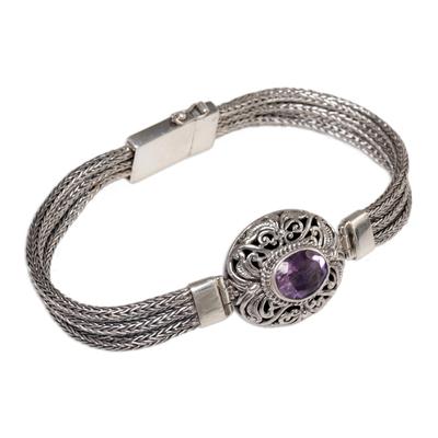 Amethyst pendant bracelet, 'Faith Protector' - Sterling Silver and Amethyst Pendant Bracelet from Indonesia