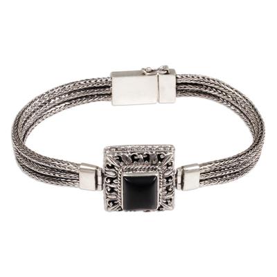 Onyx pendant bracelet, 'Beautiful Admiration' - Sterling Silver and Onyx Pendant Bracelet from Indonesia