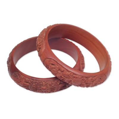 Hand Carved Floral Wood Bangle Bracelets from Bali (Pair)