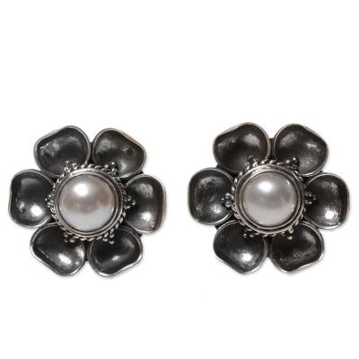 Cultured mabe pearl button earrings, 'Blooming White Roses' - Cultured Mabe Pearl Button Earrings from Indonesia