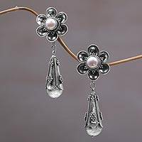 Cultured pearl dangle earrings, 'White Rose Drops'