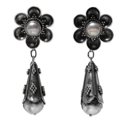 Cultured pearl dangle earrings, 'White Rose Drops' - Cultured Mabe Pearl Floral Dangle Earrings from Indonesia