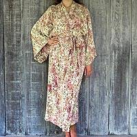 Rayon batik robe, 'Grand Floral' - Rayon Robe Olive Floral Batik Print from Indonesia