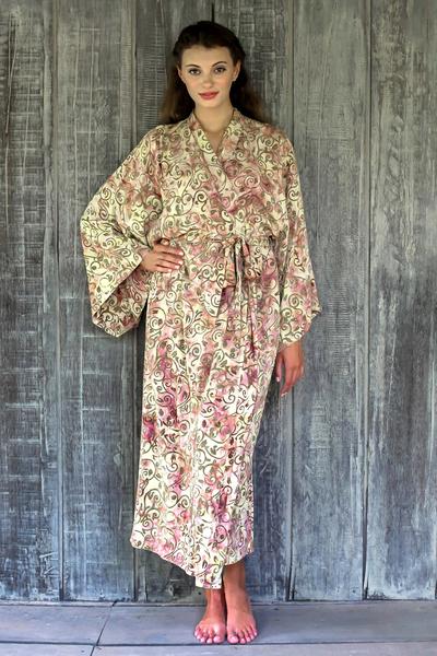 Rayon batik robe, 'Grand Floral' - Rayon Robe Olive Floral Batik Print from Indonesia