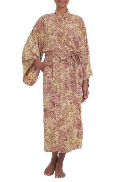Rayon Robe Olive Floral Batik Print from Indonesia