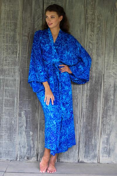 Rayon batik robe, 'Bamboo Blue' - Blue Rayon Long Robe with Bamboo Batik Print from Indonesia