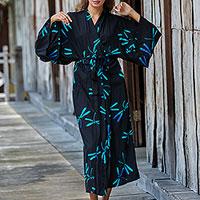 Rayon batik robe, 'Night Dragonflies' - Handcrafted Black Batik Robe with Dragonflies from Bali