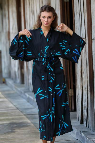 Rayon batik robe, 'Night Dragonflies' - Handcrafted Black Batik Robe with Dragonflies from Bali