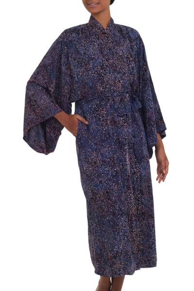Rayon batik robe, 'Bewildering Maze' - Handcrafted Blue & Peach Batik Rayon Robe from Indonesia