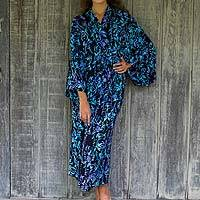 Rayon batik robe, 'Twilight Roses'