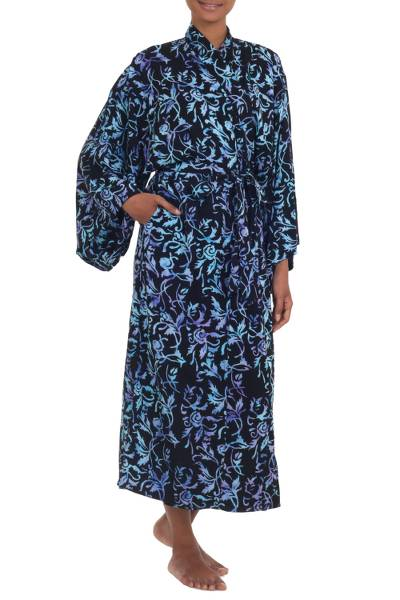 Rayon batik robe, 'Twilight Roses' - Rayon Black Long Robe with Blue Purple Batik Floral Print