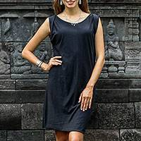 Cotton shift dress, 'Black Ocean' - 100% Cotton Black Sleeveless Shift Dress from Indonesia