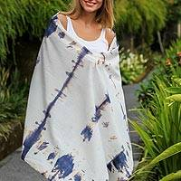 Tie-dyed cotton shawl, 'Kaliurang Cloud' - Tie-Dyed Cotton Shawl in Ivory and Indigo from Indonesia