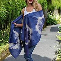 Tie-dyed cotton shawl, 'Indigo Asri' - Tie-Dye Cotton Shawl in Ecru and Indigo from Indonesia