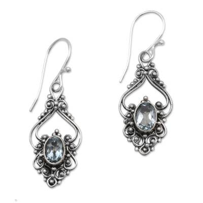 Bali Artisan Jewelry Blue Topaz Sterling Silver Earrings