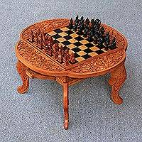 Wood chess set, 'Paradise' - Indonesian Handcrafted Magnolia Wood Chess Set