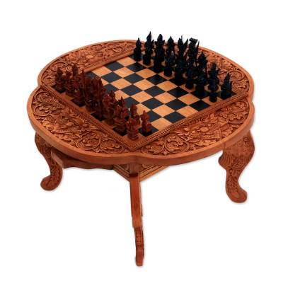 Wood chess set, 'Paradise' - Handcarved Wood Chess Set