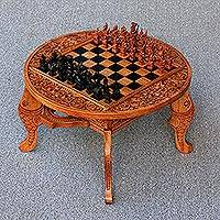Wood chess set, 'Ramayana Flowers' - Wood chess set