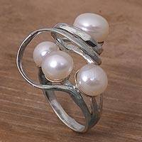 Cultured pearl cocktail ring, 'Polarized Pearl' - Handcrafted Balinese Sterling Silver and Cultured Pearl Ring