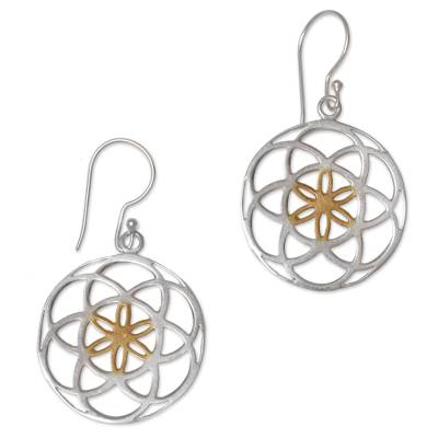 Gold accented sterling silver dangle earrings, 'Blooms of Life' - Indonesian Sterling Silver and Gold Plated Dangle Earrings