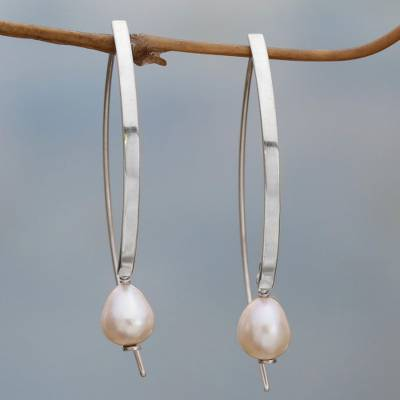 Cultured pearl drop earrings, 'Ever After' - Sterling Silver and Cultured Pearl Drop Earrings
