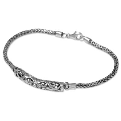 Sterling silver pendant bracelet, 'Sharp and Sophisticated' - Sterling Silver Balinese Chain and Pendant Bracelet