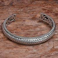 Sterling silver cuff bracelet, 'Bamboo Scales' - Handcrafted Modern Balinese Sterling Silver Cuff Bracelet