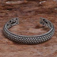 Sterling silver cuff bracelet, 'Woven Chains' - Hand Crafted Sterling Silver Cuff Bracelet from Indonesia