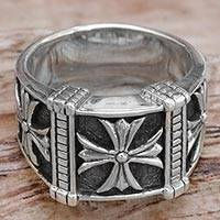 Men's sterling silver ring, 'Stallion Cross' - Indonesian Men's Sterling Silver Engraved Handmade Ring