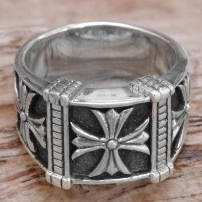 Men's sterling silver ring, 'Stallion Cross' - Indonesian Men's Sterling Silver Engraved Handmade Ring
