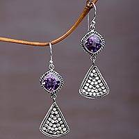 Amethyst dangle earrings, 'Ascending Beauty' - Amethyst and Sterling Silver Dangle Earrings from Indonesia