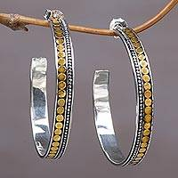 Gold accented sterling silver half-hoop earrings, 'Edge of Sunrise' - Gold Accent Sterling Silver Half-Hoop Earrings Indonesia